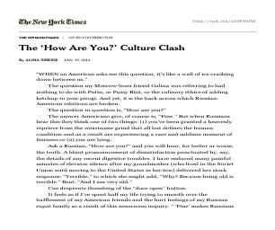 The 'How Are You?' Culture Clash - University of Michigan